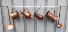 Antique set of hammered copper kitchen utensils, early to late 19th century