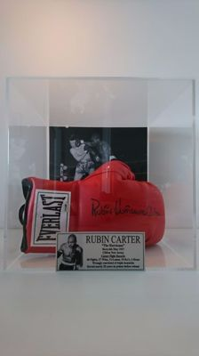 Rubin 'The Hurricane' Carter - Autographed Everlast Boxing Glove with COA JSA in Large Luxury Display Case
