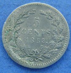 The Netherlands - 5 cents 1853 Willem III - silver.