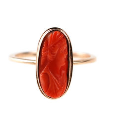 Coral, Gold Ring