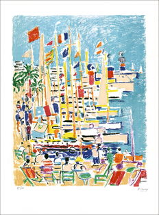 Robert Savary (1920-2000) - boats in the port of Cannes