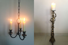 Beautiful candlestick with angel of brass and three-light hanging candle holder - 20th century