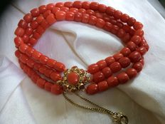 3 strand bracelet - 100% genuine Mediterranean Sea precious coral, gold clasp and a gold safety chain