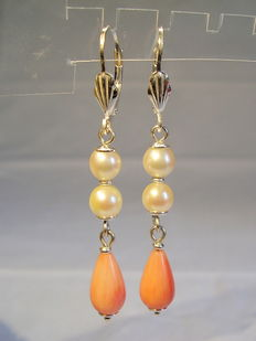 Earrings with pink corals and authentic white Akoya pearls