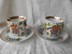 Antique cup and saucers Meiner Vater Mutter Meine Lipher Vater