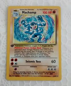 Pokémon - Base Set - Machamp 8/102 Holographic - First Edition & two other Cards