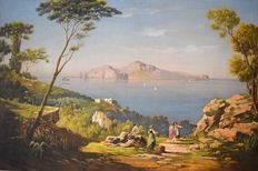 Unknown artist (20th-century, signed W. Martinez) - Capri da Massalubrense