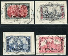 German post offices in Morocco 1900/1903 - various portrayals on paperfragments - Michel 16/19