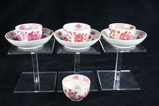 Rauenstein 7 tableware parts German porcelain, antique Saxon Beet Red