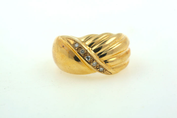 BAND ring, 585 brilliant ring, yellow gold