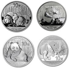 China -4x10 Yuan 1 oz 2013 + 2014 + 2015+ 30 grams 2016 -999 silver coin silver China Panda 2013 - 2016 - in capsule