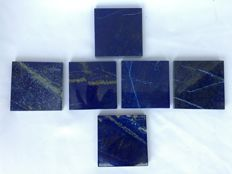 A set of hand-polished Lapis Lazuli Tiles, mixed quality - 7.5 x 7.5cm - 480gm  (6)