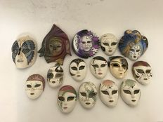 Collection of 17 Venetian ceramics masks