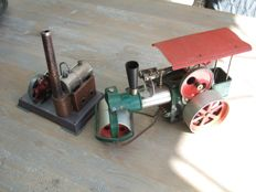 Wilesco steam roller and small steam engine, 70s
