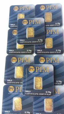 10 pieces of Gold Bullion 999.9 x 0.10 g each -PIM Gold Ingot