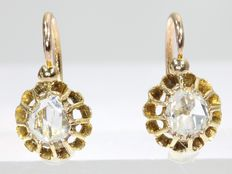 Gold Victorian short hanging earrings with diamonds - anno 1870