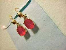 Natural Ruby yellow gold earring 3.62-gram , 4.50-ct total ** Lo reserve **