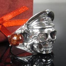 Sterling silver skull ring with amber handwork
