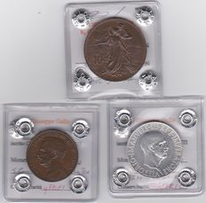 Kingdom of Italy - Lot of 3 coins, Vittorio Emanuele III (including silver)