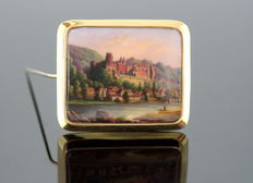 Antique 18K  Gold European Brooch (Possibly Austrian) Scenery Hills & Castle, C.1915
