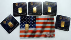 6 pieces Nadir PIM bullion fine gold - purity of 999.9/1000 24 carat - gold bar bullion in cheque card format - packaged - LBMA certified, 1 gift card - motif USA - 1/2 grams and 5 gold bars each 0.10 g