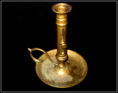 Candle holder with sliding mechanism - brass -19th century.