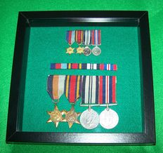 British WW2, WO2 Court Mounted Framed Medal set with Indian service medal, miniature medals set & Ribbons