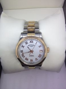 Rotary Women's Automatic Watch with White Dial Analogue Display and Two Tone Stainless Steel Bracelet LB00156/01