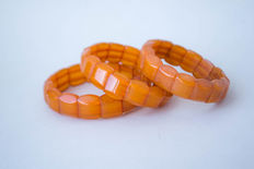 Three Baltic amber bracelets, 100% natural butterscotch, honey caramel colour