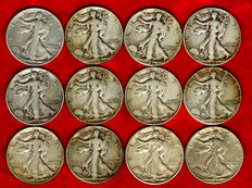 """United States. 1/2 dollar, """"Walking Liberty"""", 1940/1945 (12 coins). Silver."""
