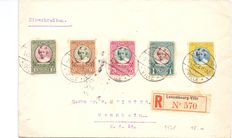 Luxembourg 1928 - Registered letter with Caritas charity stamps - destined for Mannheim (Germany).
