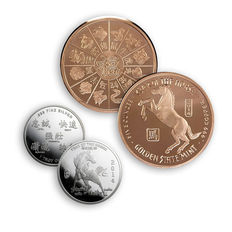 USA - 1 piece 5 oz 999 copper coin + 1 999 silver coins - lunar year of the horse of year of the horse 2014