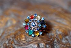 Ring 14 kt yellow gold - with various gemstones