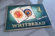 "Metal advertising sign ""WHITBREAD Two Aces"" from 1959, original vintage tin sign"