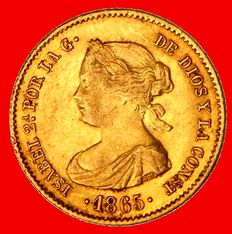 Spain – Isabel II (1833-1868) – 4 escudos gold coin – 1865 – Madrid