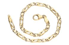 Yellow gold Figaro link bracelet in 18 kt.