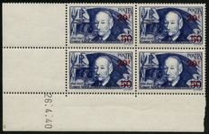 France 1940 – Clément Ader overprinted, block of 4, corner dated – Yvert No. 398
