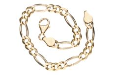 Yellow gold Figaro link bracelet in 14 kt