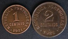 Portugal - 1 and 2 centavos coins, dated 1921 - Lisbon - Portuguese Republic - RARE DATES