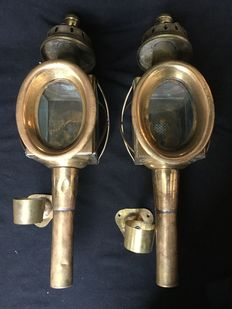 Set of copper carriage lamps.