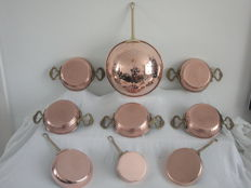 Copper colander - 5 oven dishes - 3 sauce pans