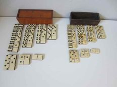 Dominoes - two sets of bone stones, early 20th century