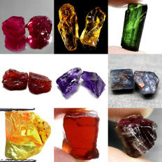 Lot of Ruby, Citrine, Tourmaline, Garnet, Amethyst and Sapphire - 93.85 ct (14)