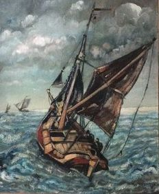 W. Beumer - The Netherlands? first half 20th century-oil on canvas-a Zeeland Hoogaars in rough seas