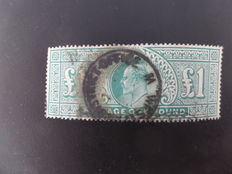Great Britain, King Edward VII - one pound sterling, green, Catalogo Unificato 121