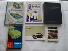 Lot of 6 Car Books and pictures album, instruction booklet; period 1950 - 1975