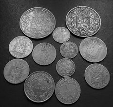 Belgium - 50c plus 1, 2 in 5 Franc 1849 to 1912 (12 coins) - silver.