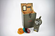 Eisemann KEB 130/1 portable explosion proof lamp in wooden storage box 1971