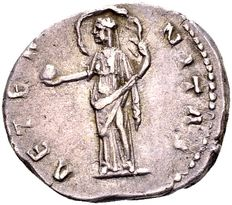 Roman Empire - Silver Denarius of Diva Faustina Senior, died in 141 B.C., Antoninus Pius' (138-161 B.C.) wife, minted in Rome