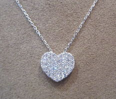 White gold necklace with heart-shaped pendant with diamonds
